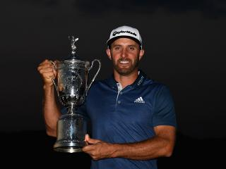 Dustin Johnson with the US Open trophy
