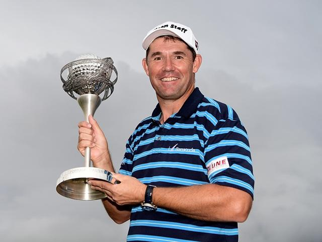 Last year's winner, Padraig Harrington, with the trophy