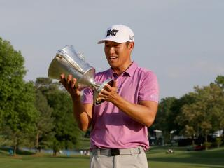 A happy James Hahn with the Wells Fargo trophy