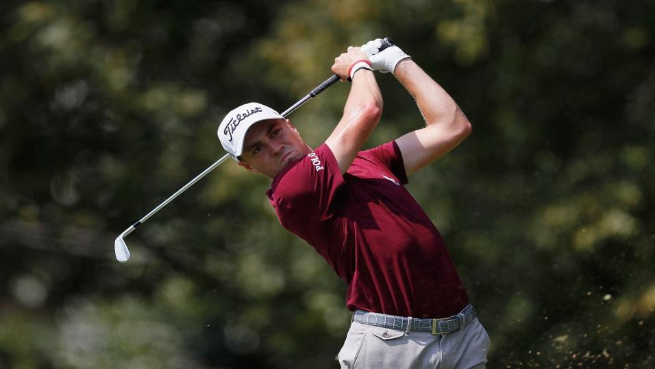 Golfer Justin Thomas in action