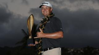Patton Kizzire with the Sony Open trophy