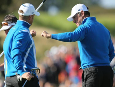 Europe's Jamie Donaldson and Lee Westwood won their fourballs match for the second day running