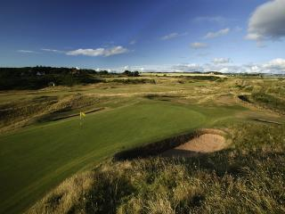 The iconic Par 3 8th hole at Royal Troon - known as the Postage Stamp