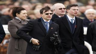 Aidan O'Brien (above, in sunglasses) could make history on Saturday afternoon