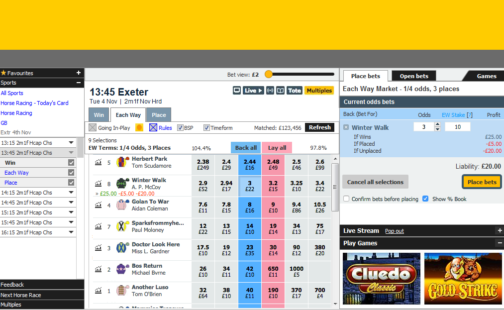 Betfair Betting Exchange