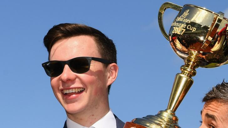Joseph O'Brien celebrates victory in the Melbourne Cup