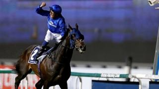 William Buick riding a winner for Godolphin