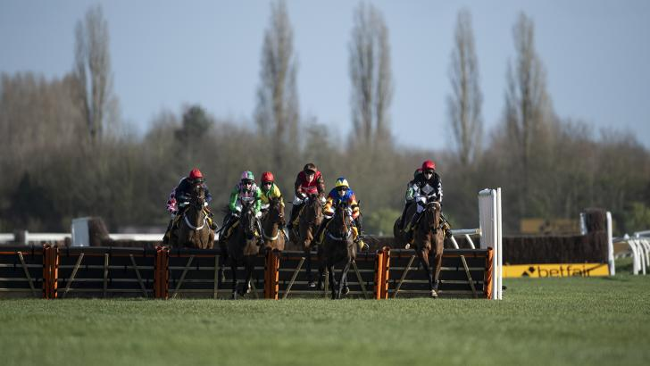 Newbury racecourse jumps action