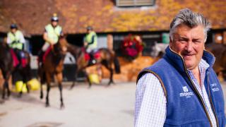 Racing trainer Paul Nicholls in his yard