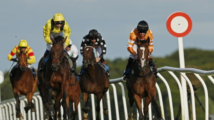 Horses passing the winning post