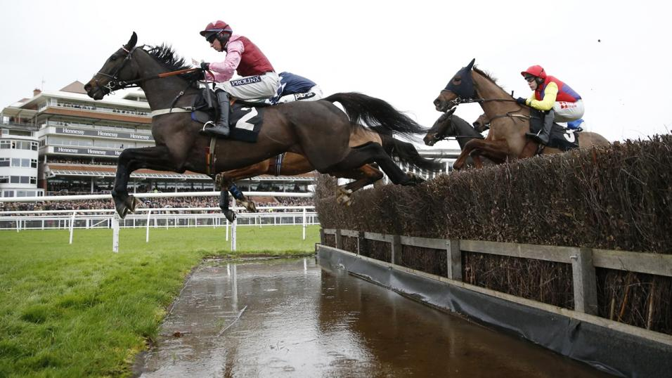 Jumping the water at Newbury