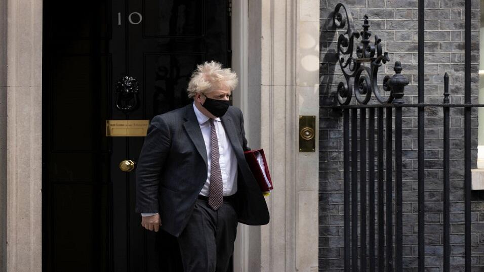 UK Prime Minister Boris Johnson outside 10 Downing Street