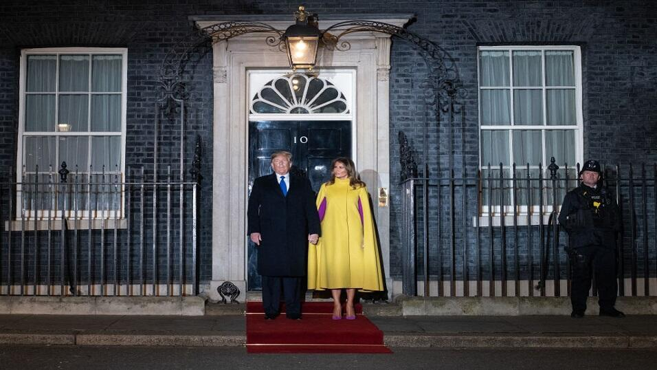 Donald and Melania Trump outsider 10 Downing Street