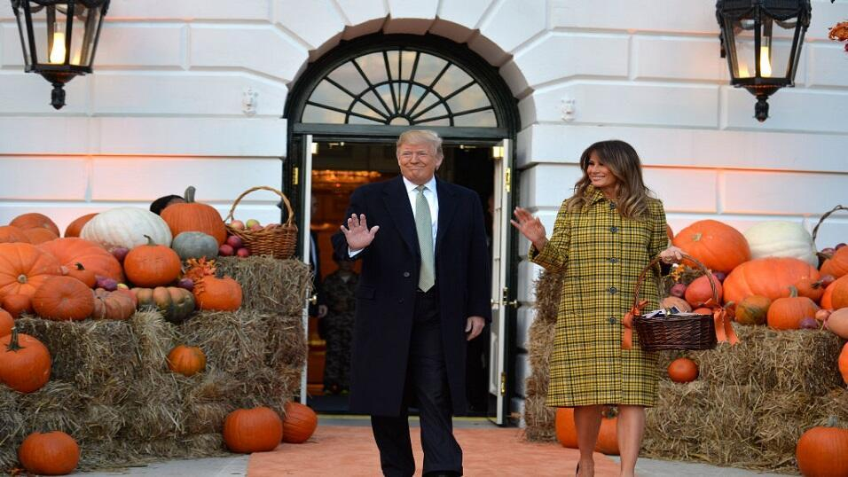 President Donald Trump and Melania Trump attend Halloween celebrations