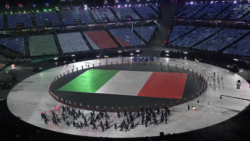 Italian athletes on parade at the Winter Olympics
