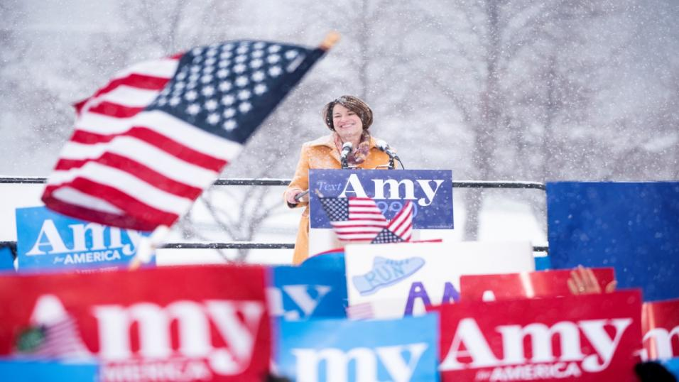 Amy Klobuchar addresses supporters
