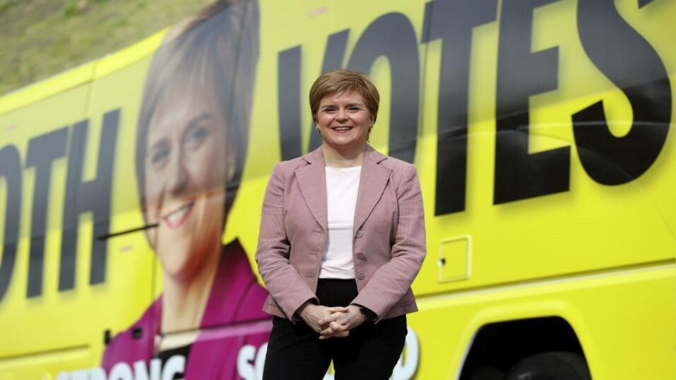 Nicola Sturgeon campaigning for the Scottish elections on 6 May