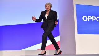 Theresa May dances on to stage at the Tory Party Conference