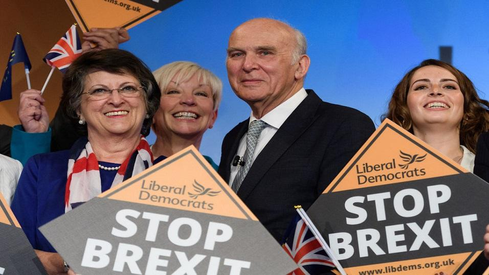 Lib Dem leader Vince Cable and supporters