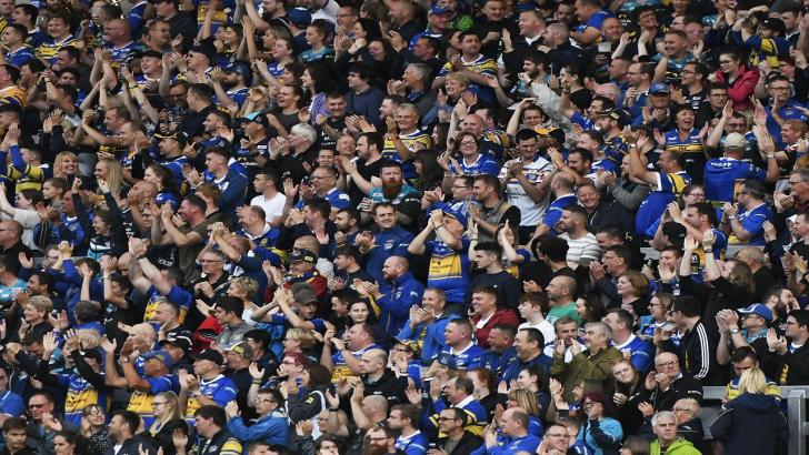 Leeds Rhinos supporters in the South Stand at Headingley