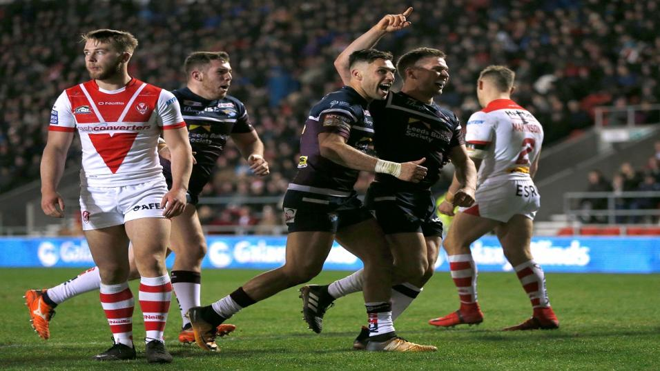 Matt Parcell celebrates his try against St Helens