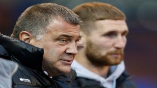 Wigan Warriors coach Shaun Wane and Sam Tomkins