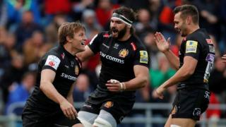 Exeter kept their qualification hopes alive with a dominant win over Montpellier