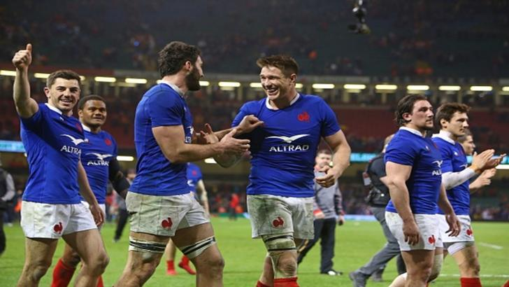 France celebrate their win in Wales
