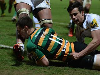 Ouch - The moment George North's face met the shin of Nathan Hughes during their Aviva Premiership game
