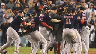 Red Sox players celebrate World Series win