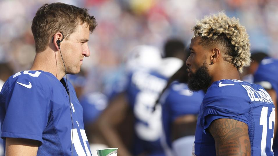 Quarterback Eli Manning with his New York Giants teammate Odell Beckham Jnr.